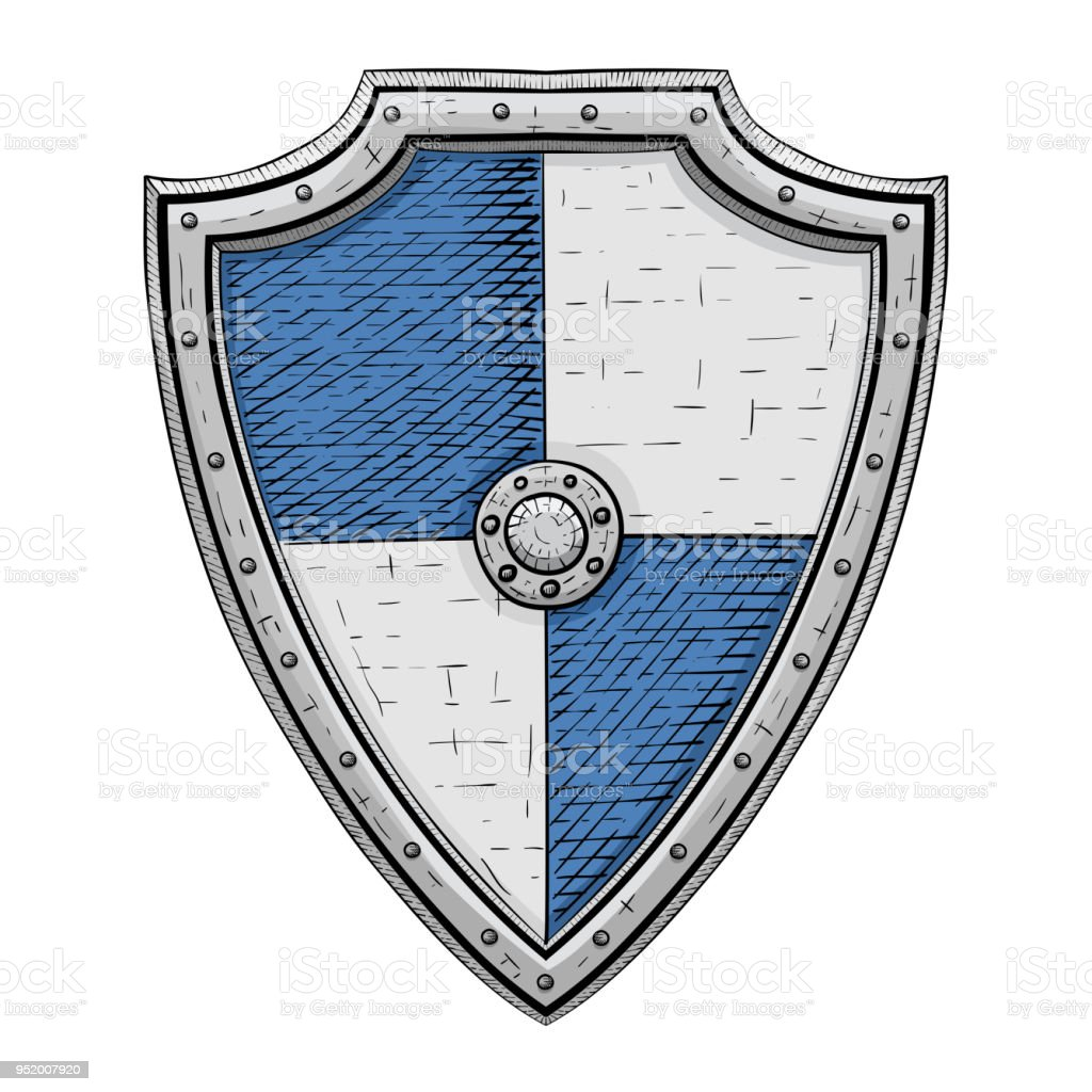 Medieval Shield Gray And Blue Armor Hand Drawn Sketch Stock Vector ...