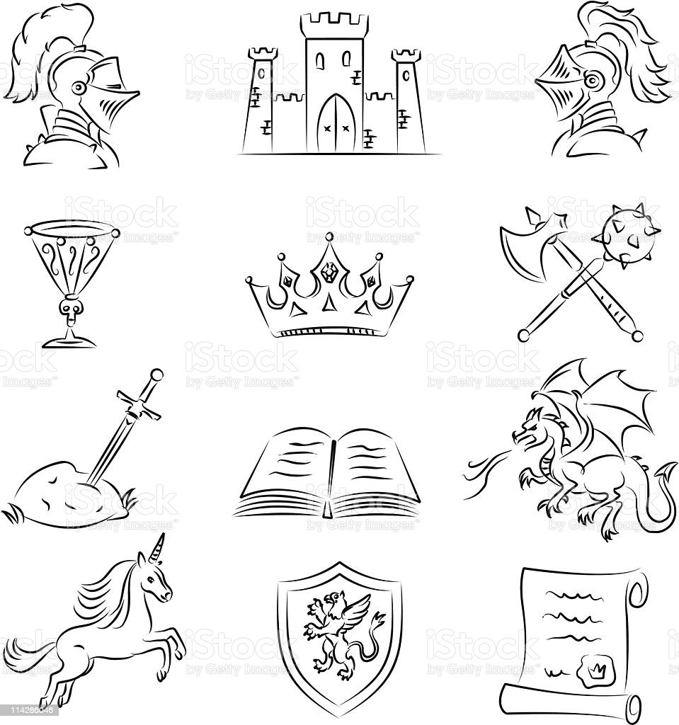 Medieval Sketch Set royalty-free medieval sketch set stock vector art & more images of animal body part