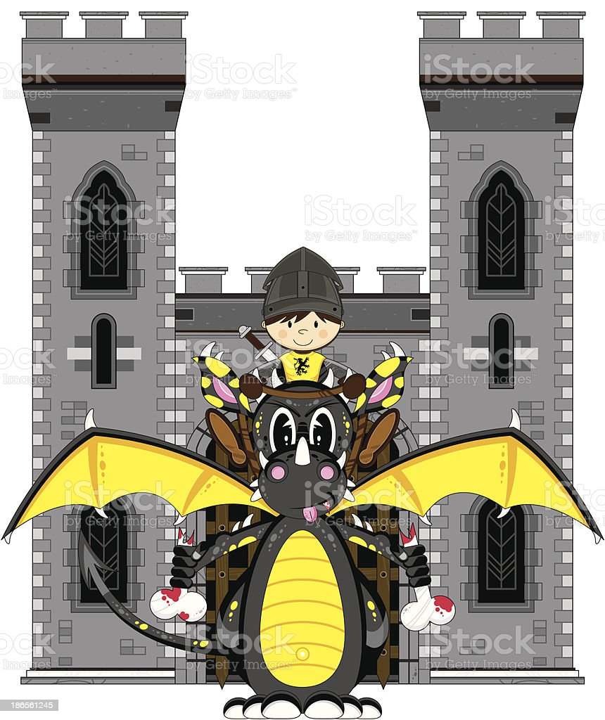 Medieval Soldier and Dragon at Castle royalty-free stock vector art