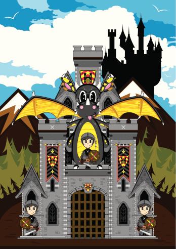 Medieval Soldiers & Dragon Castle Scene