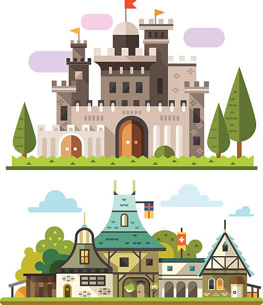 stockillustraties, clipart, cartoons en iconen met medieval stone fortress - vakwerk