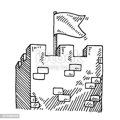 Hand-drawn vector drawing of a Medieval Stronghold Tower and a White Flag. Black-and-White sketch on a transparent background (.eps-file). Included files are EPS (v10) and Hi-Res JPG.