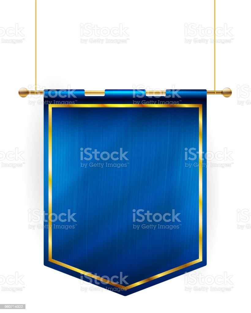 Medieval style blue flag hanging on gold pole vector art illustration