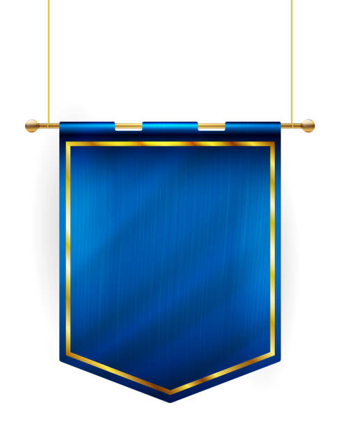 medieval style blue flag hanging on gold pole - вертикальный stock illustrations