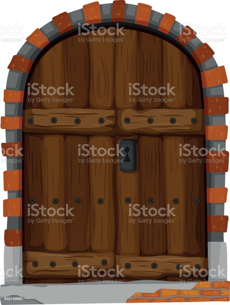 Medieval Style Of Wooden Door Stock Vector Art More Images Of Art