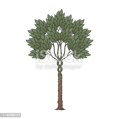 Medieval style tree. Medieval gothic style concept art. Brightly colored drawing. Hand drawn design element isolated on white background. EPS10 vector illustration