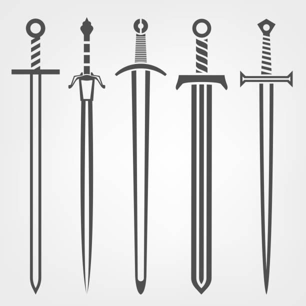 중세 칼 아이콘 - sword stock illustrations
