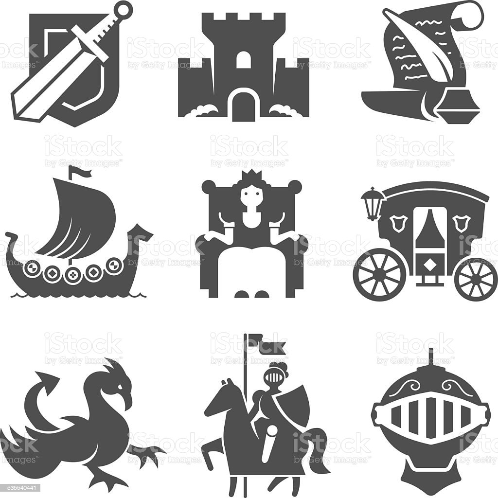 medieval symbols collection stock vector art amp more images