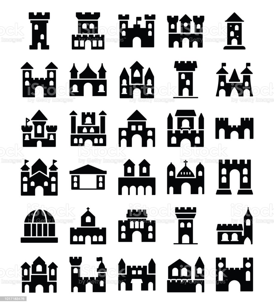 Medieval Times Castles Icons Stock Vector Art More Images Of