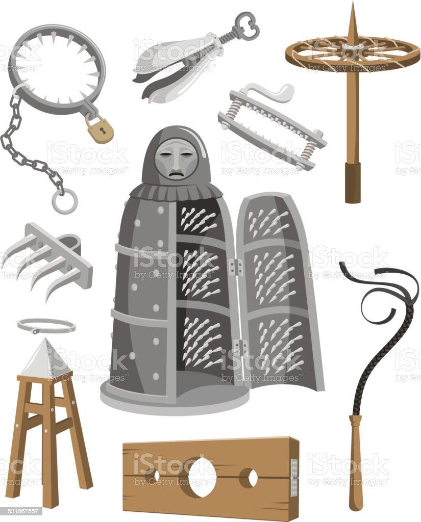 Medieval Torture Tools Set vector art illustration