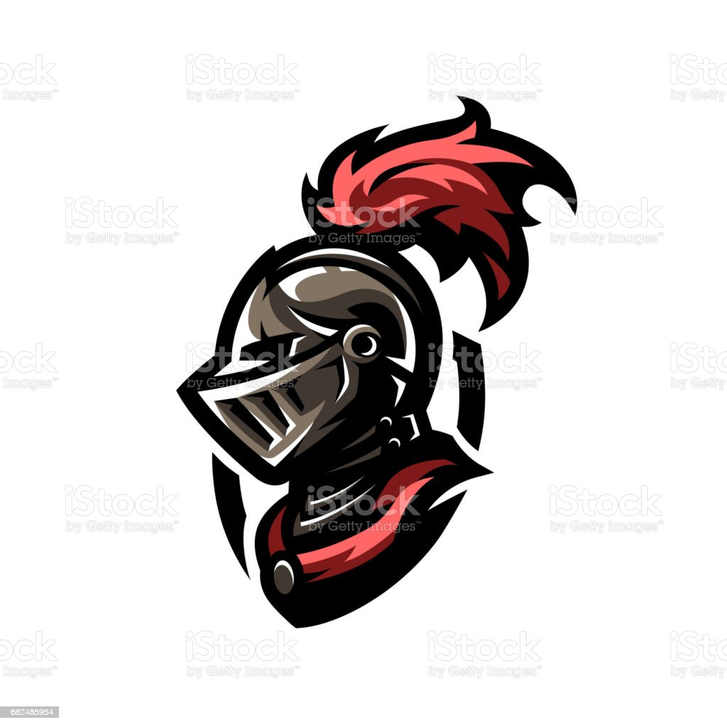 medieval warrior knight in helmet icon emblem symbol stock