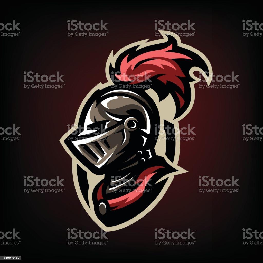 Medieval warrior knight in helmet. icon , emblem, symbol.