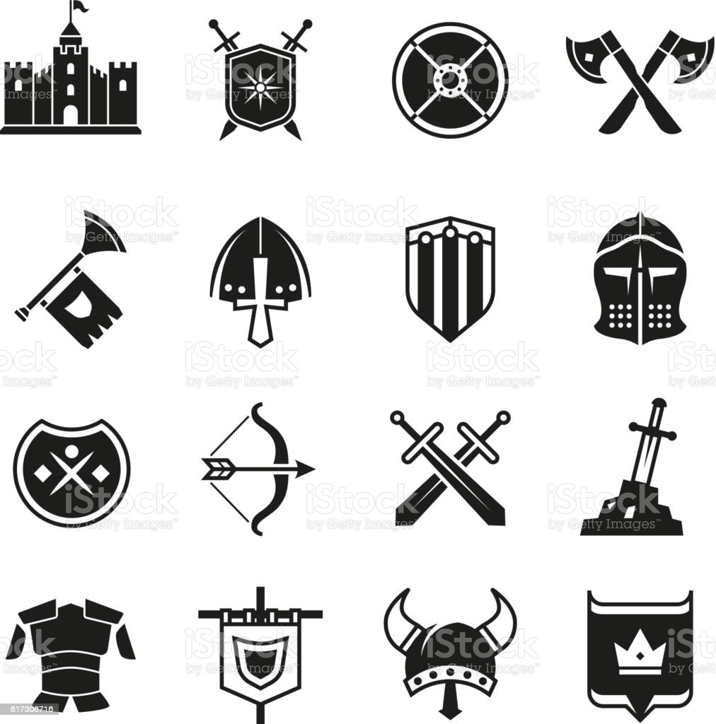 medieval warriors shield and sword vector icons ancient