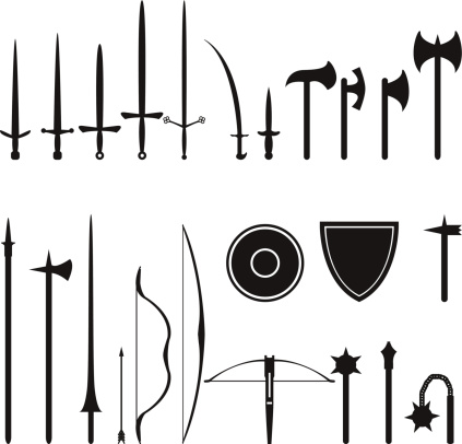 set of Medieval weapons