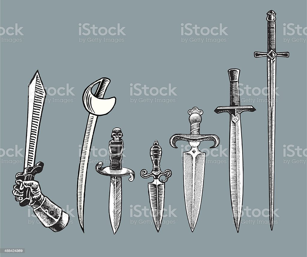 Medieval Weapons - Swords and Daggers vector art illustration