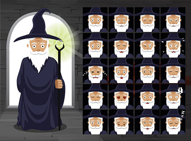 medieval witch cartoon emotion faces vector illustration - old man crying cartoon stock illustrations, clip art, cartoons, & icons