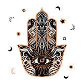 Medievial styled hamsa or fatima symbol with eye. Boho and gypsy style.