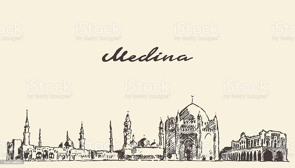 Medina skyline vector engraved illustration drawn vector art illustration