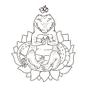 Vector illustration of cute alligator sitting in yoga meditation pose, coloring book page with animal sitting in lotus flower, black outline drawing isolated on white