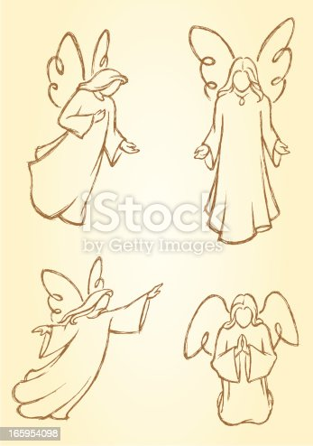 Variation of hand drawn angel set. Properly grouped with high resolution jpg. More Christmas Series Lightbox