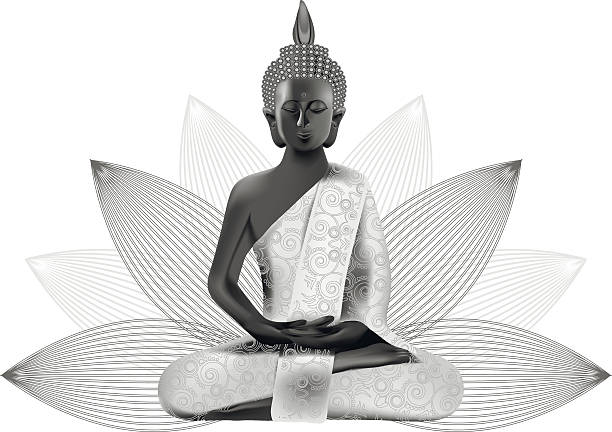 Meditating Buddha posture in silver and black colors in lotus vector art illustration