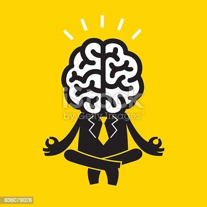 Concept illustration/cartoon of a brainy businessman in meditation.