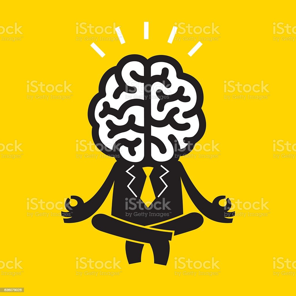Meditating Businessman (Mr Brain) | Yellow Business Concept - ilustración de arte vectorial