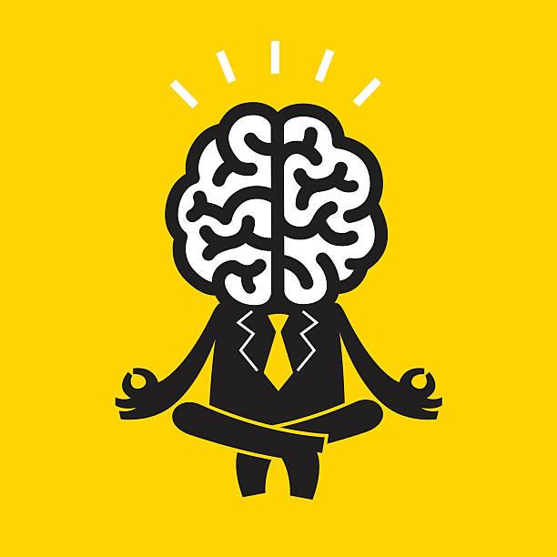 Meditating Businessman (Mr Brain) | Yellow Business Concept vector art illustration
