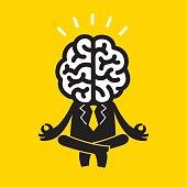Meditating Businessman (Mr Brain) | Yellow Business Concept