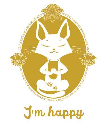 Meditating Cat Vector. Cute Cat And Message I'm Happy.