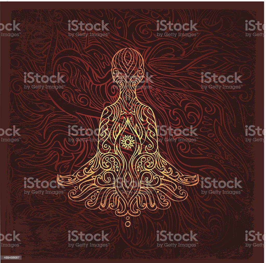 meditating figure vector art illustration