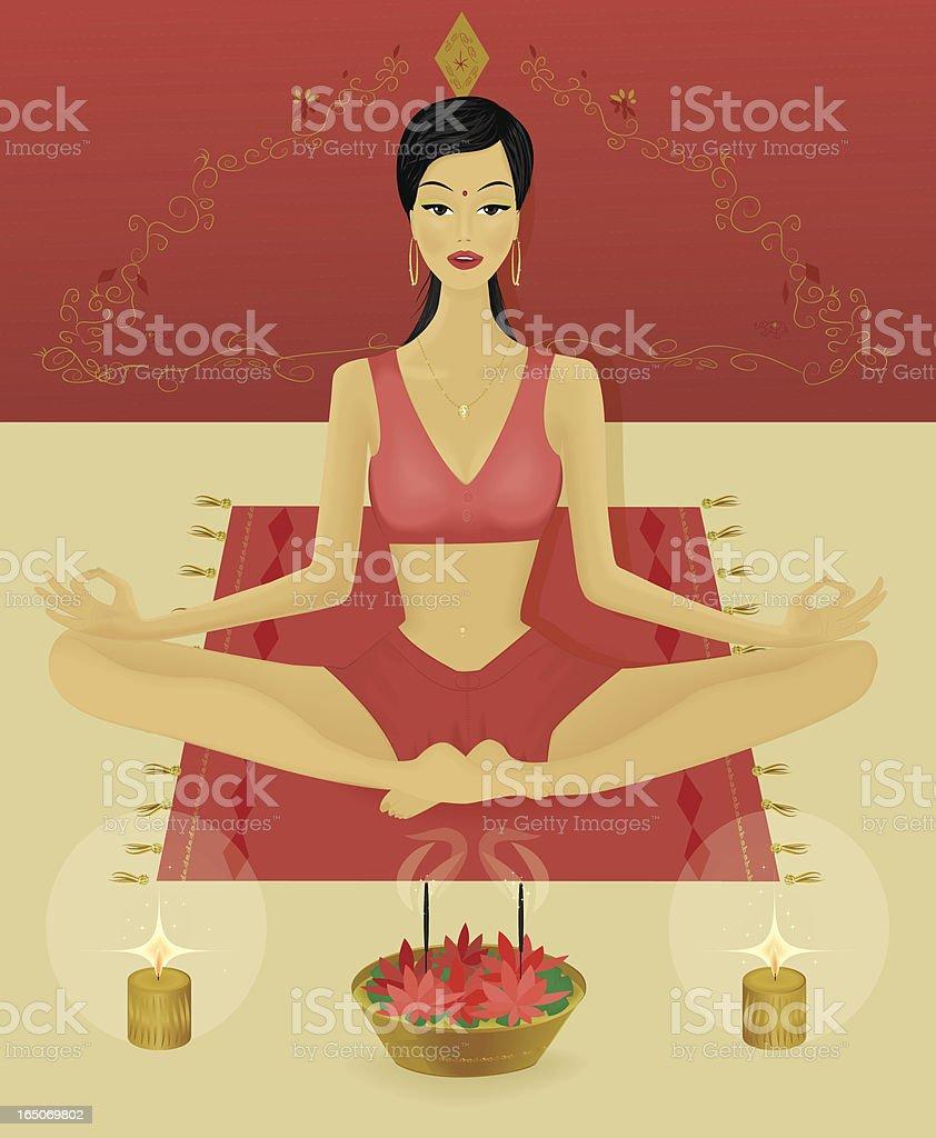 Meditating girl royalty-free stock vector art