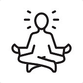 istock Meditating Guru Sitting Lotus Position - Outline Icon - Pixel Perfect 934298712