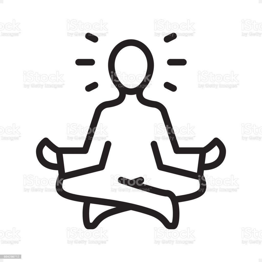 Meditating Guru Sitting Lotus Position - Outline Icon - Pixel Perfect vector art illustration