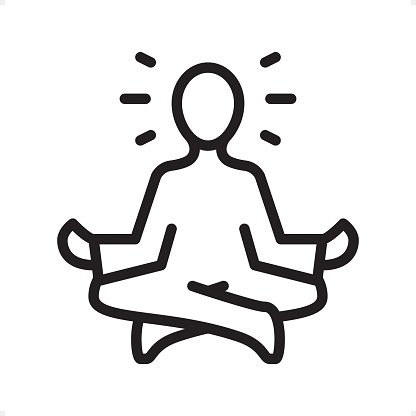 Meditating Guru Sitting Lotus Position Outline Icon Pixel ...