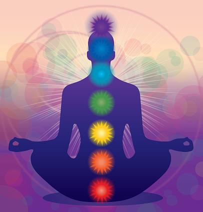 Meditating Human Lotus Pose And Chakras