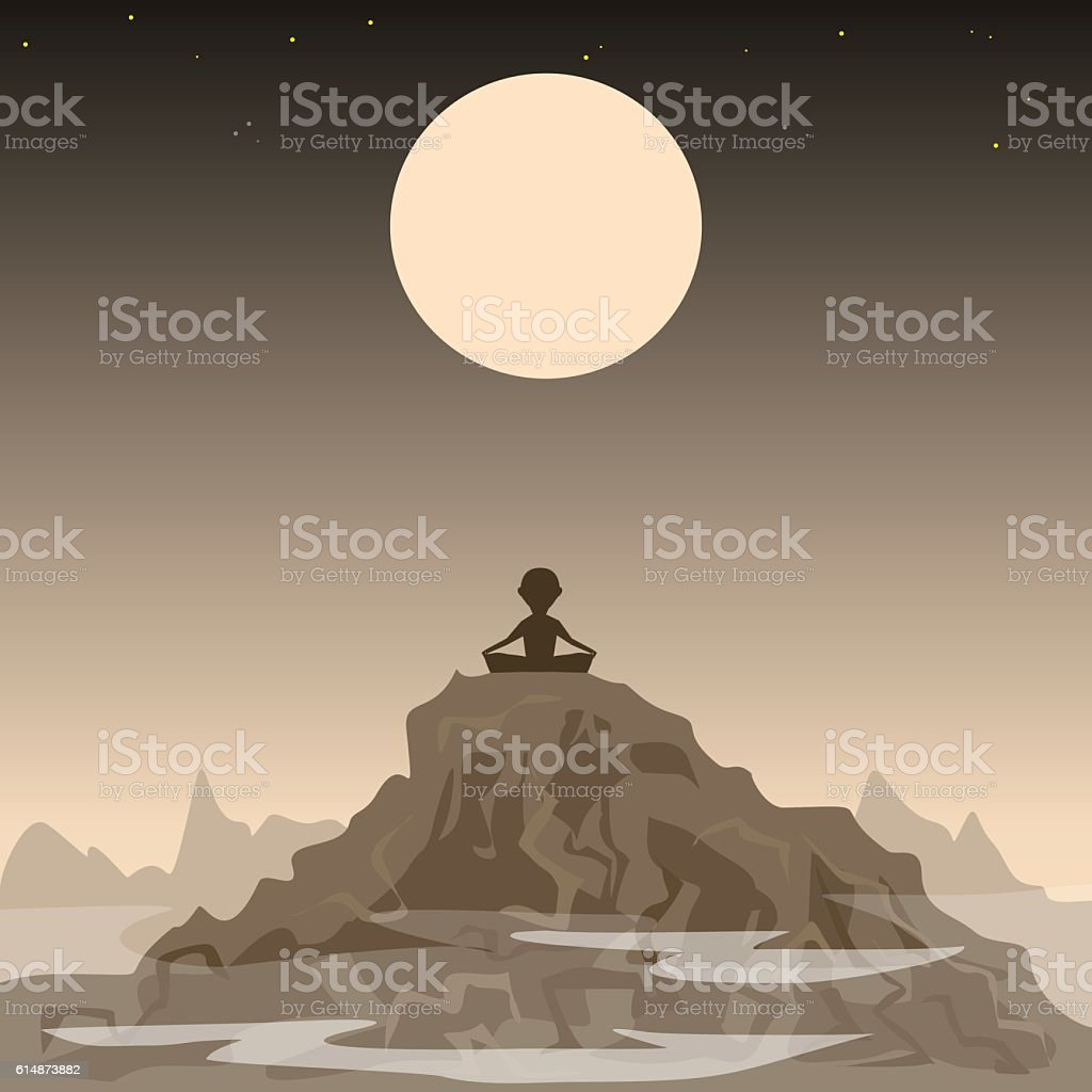 meditating man on the background of the moon and mountains vector art illustration