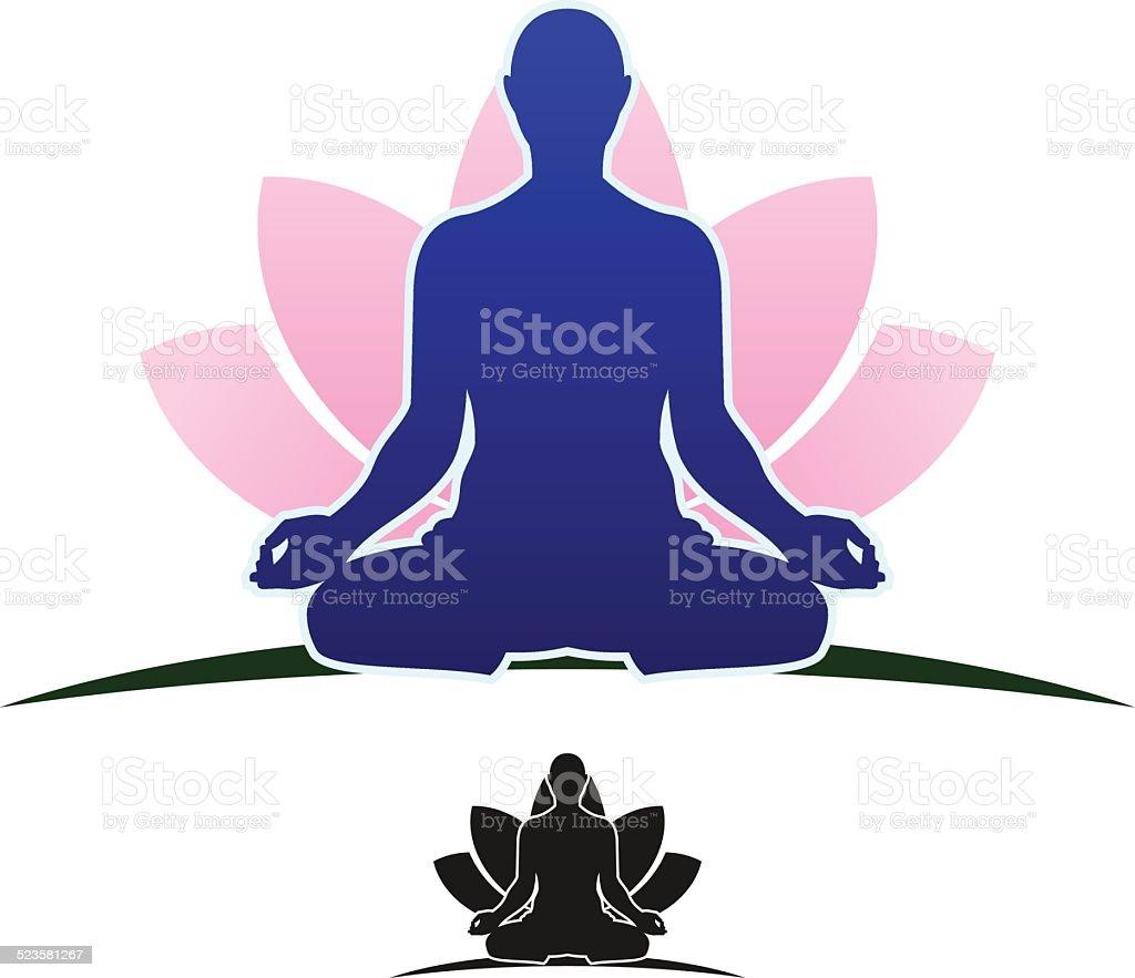 meditating man vector art illustration