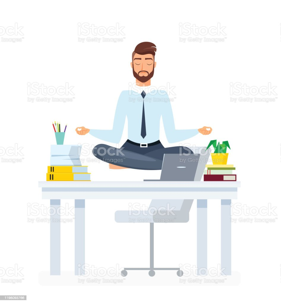 Meditating Office Employee Flat Illustration Businessman Practicing Yoga Cartoon Vector Character Staff Relaxation Stress Relief Rest Break Useful Sport Exercises Calm Down Idea Stock Illustration Download Image Now Istock
