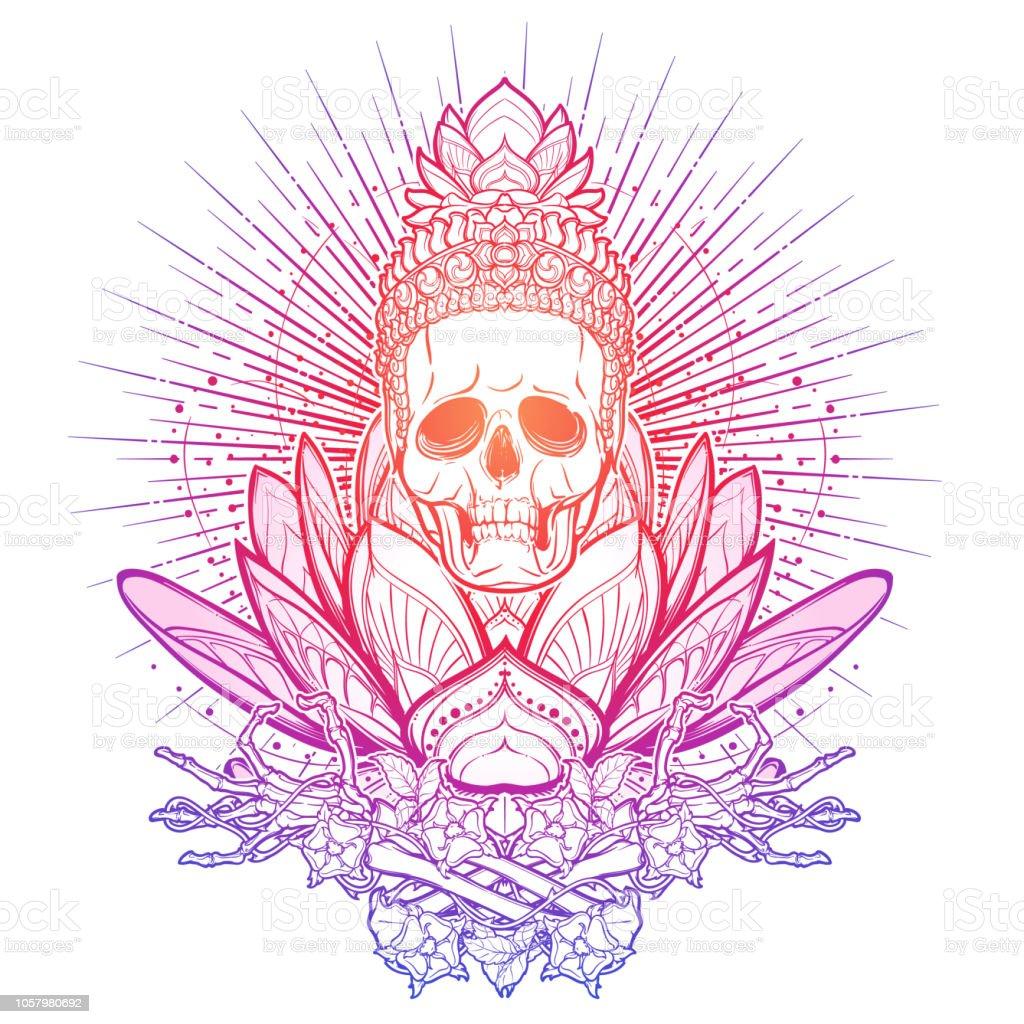 Ilustración De Meditando El Esqueleto Cráneo Humano Y Las Manos