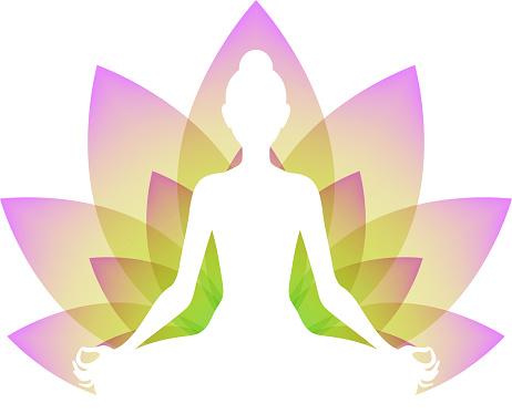 meditating woman in lotus pose yoga illustration stock