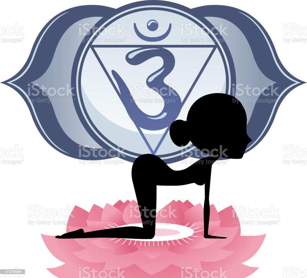 Meditating Yoga Asana on lotus with Blue Om Chakra Mandala royalty-free stock vector art
