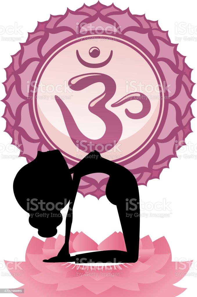 Meditating Yoga Asana on lotus with Violet Om Chakra Mandala royalty-free stock vector art