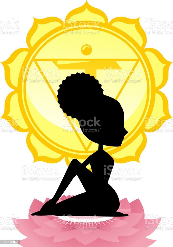 Meditating Yoga Asana on lotus with Yellow Chakra Mandala royalty-free stock vector art