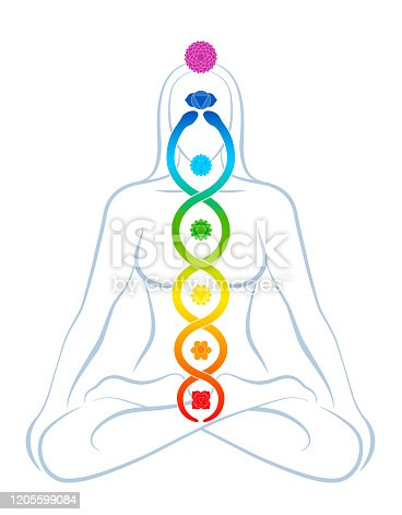 istock Meditating yoga woman with colored chakras and rainbow gradient Kundalini serpent, symbolic for spirituality, balance, harmony, relaxation and healing power. Vector illustration on white. 1205599084