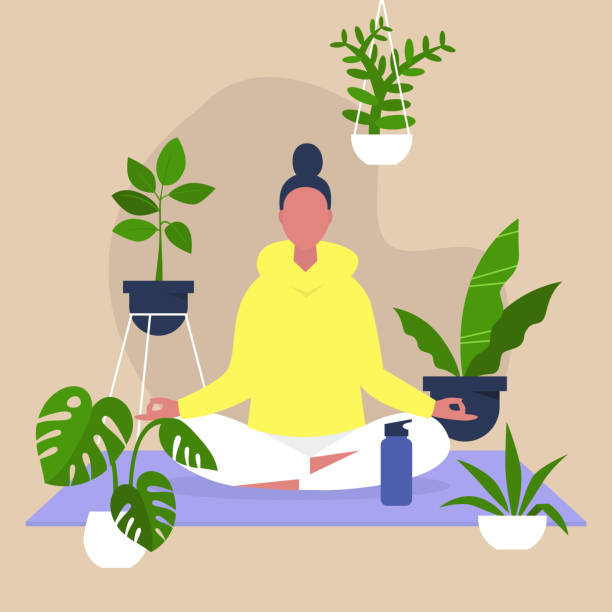 Meditation and mindfulness, Harmony and relaxation, Calm female character sitting in a lotus position surrounded by plants, Indoor yoga Meditation and mindfulness, Harmony and relaxation, Calm female character sitting in a lotus position surrounded by plants, Indoor yoga meditation stock illustrations