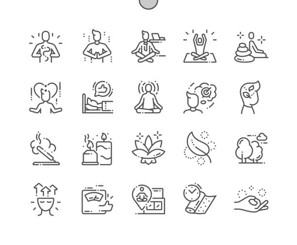 Meditation and spiritual practices Well-crafted Pixel Perfect Vector Thin Line Icons 30 2x Grid for Web Graphics and Apps. Simple Minimal Pictogram Meditation and spiritual practices Well-crafted Pixel Perfect Vector Thin Line Icons 30 2x Grid for Web Graphics and Apps. Simple Minimal Pictogram relief emotion stock illustrations