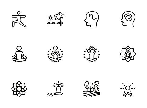 Meditation and yoga line icon set