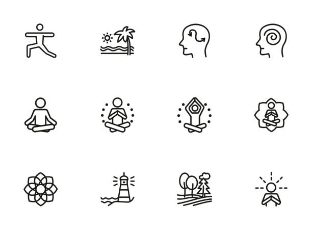 Meditation and yoga line icon set Meditation and yoga line icon set. Health, wellness, leisure. Buddhism concept. Can be used for topics like spirituality, peace, relaxation wellbeing stock illustrations