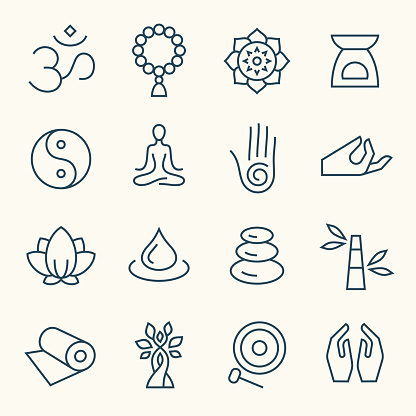 Meditation and yoga retreat line vector icon set